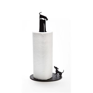 Dog vs. Cat Paper Towel Holder-Black